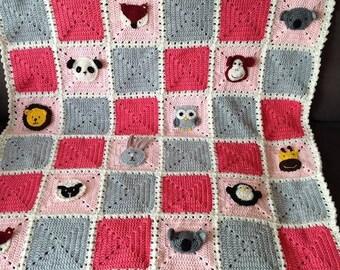 crochet animals blanket