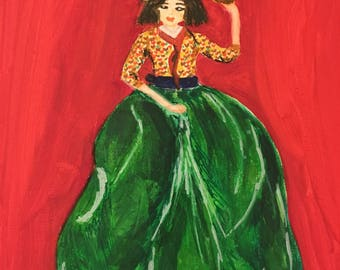 Exotic Lady Wall Art ,Hand Painted, Wall Decor on 8 in*10 in / 20.3 cm*25.4 cm canvas