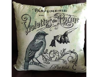 French Bird Throw Pillow