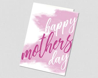 Happy Mother's Day Printable Greeting Card in Fuchsia