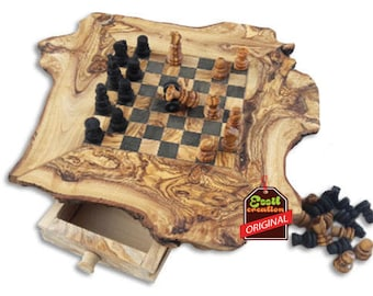 Chessboard, Rustic chess set in olive wood, olive wood, ideal gift, birthday, dad, mum, 100% natural handmade, chess