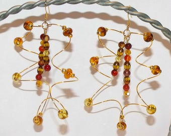 Golden Beaded Unique Twist Earrings