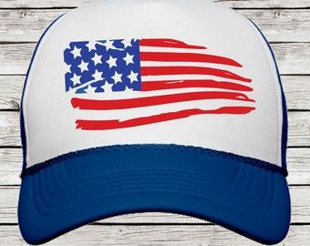 American Flag 4th of July Trucker Cap, American Flag Cap, Fourth of July Trucker Hat