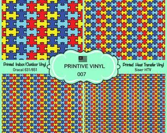 Autism Puzzle Pattern Printed Vinyl/Siser HTV/ Oracal/ Indoor Vinyl/ Outdoor Vinyl/ Heat Transfer Vinyl- 007