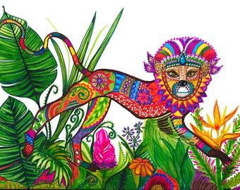 "Prince Oli: Jungle Monkey Canvas Art Print of Painting | 24 x 18"""