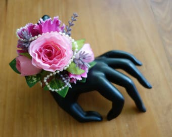 Pink and purple corsage Prom Bracelet