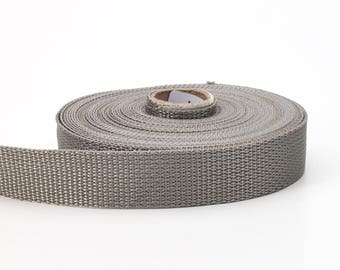 "Polypropylene webbing, 1"" Wide, 10 yds, Grey"