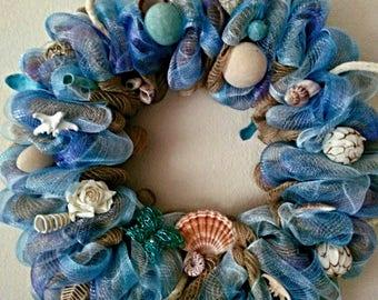 Ocean Breeze Seashell Wreath