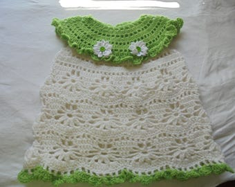 White and Green Filet Crochet Dress