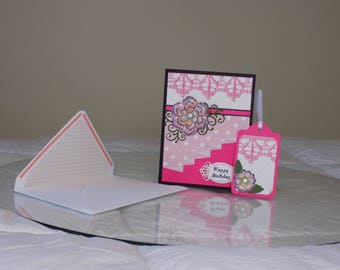 Glam Birthday Card, gift tag and coordinating envelope