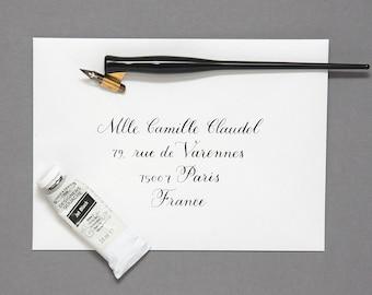 hand lettered, calligraphy envelope addressing