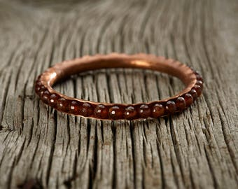 Hessonite Garnet Copper Bangle