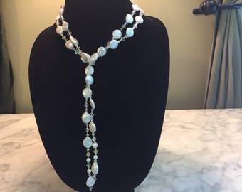 Freshwater Pearls & Swarovski Crystal Lariat Necklace