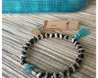 Striped black & white bracelet
