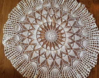 "59"" Round crocheted tablecloth"