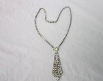 Vintage Art Deco Style Rhinestone Necklace Super
