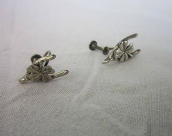 Antique Sterling Silver Lucky Wishbone & Four Leaf Clover Screw Back Earrings