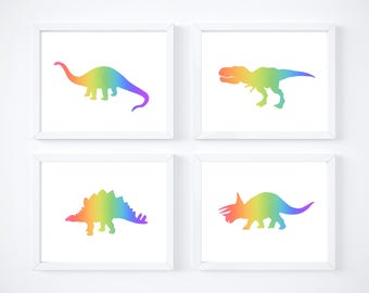 Instant digital download, set of 4 dinosaur silhouette printables.