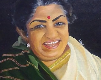 Lata Mangeshkar ji in Oil Color