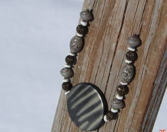 Professional Gray and Brown Beaded Necklace