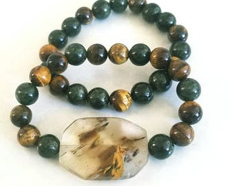 Green & Brown Bracelet Set