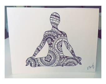 Yogi, lotus pose, hand drawn ethnic mandala yoga print, drawing, artwork, doodle