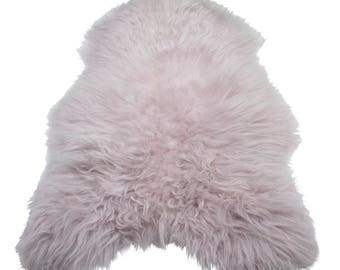 Lambskin Pink: fur rug 110 cm Island lamb fur, long woolly unscathed