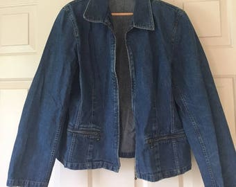 Vintage denim zip up jean jacket