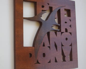 Handcrafted Solid Wood Wall Art for Children - Pteranodon Dinosaur- Scroll Saw Art