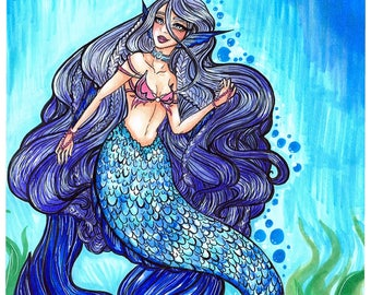 Purple Mermaid Print