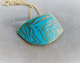 Hand-painted polymer clay necklace, unique piece
