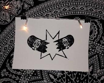 Linocut print skateboard