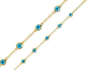 14k Yellow Gold Plated Ladies Sterling Silver Evil Eye Bracelet