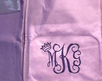 "Lilac 72"" garment bag with 10"" gusset sides  includes embroidered crown and name or monogram"