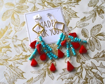 Red Turquoise Dangle