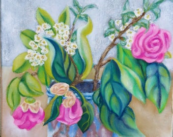 """Small painting """"Pink Wilt"""", original signed, green and pink, flowers, tropical, Garden, summer, mother's day, birthday gift"""