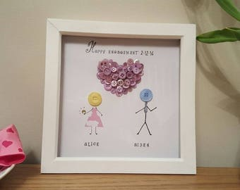 Personalised Button People Engagement Box Frame