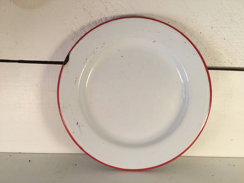White with Red Trim Enamelware Plate Farmhouse Kitchen Decorative