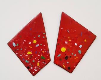 enamel on copper earrings - nineteen83 angle studs