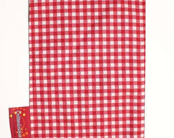 Critterlicious Red Plaid Burp Cloth - Brown back