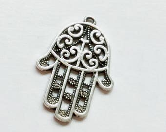 Antiqued Silver Hamsa Hand Charms 44 x 30mm