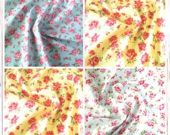 Fabric Roses 100% Cotton Vintage Floral Design fabric Fat Quarters Metre Material Crafting Retro feel