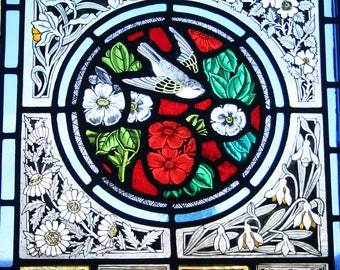 Beautiful Victorian design stained glass panel with bird and flowers