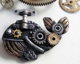 Steampunk brooch -  Whale