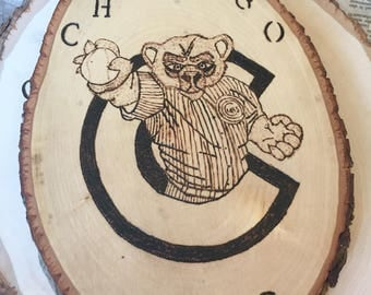 Custom Chicago Cubs wood burned wall decor