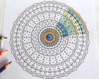 Adult Colouring Page 3 - Printable Drawing - Boho Tribal Mandala - Intricate Abstract Art 'Bohemian' - Instant Download