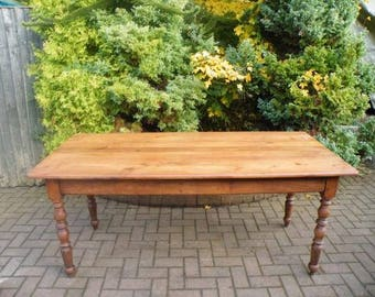 Antique French Cherry Wood Turned Leg Dining / Kitchen Table
