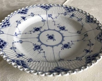Vintage Royal Copenhagen Denmark Blue Fluted full lace. Plate number 1 1085. First quality.  Like new. Lovely blue and white.