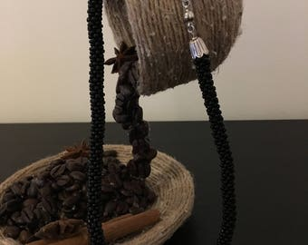 Handmade Necklace with Crochet Beads in black.