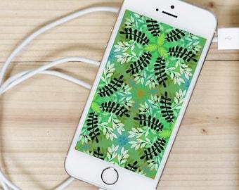 Organic Green Plant-Fern Pattern — iPhone Wallpaper